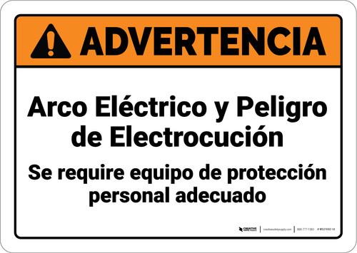 Warning: Arc Flash Shock Hazard PPE Required Spanish ANSI - Wall Sign