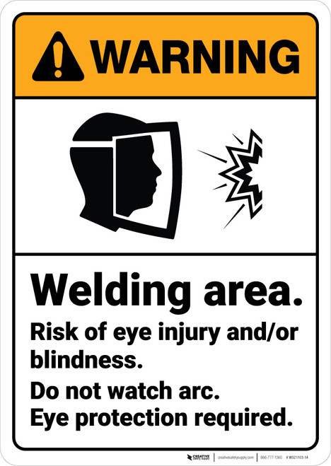 Warning: Welding Area Wear Eye Protection ANSI - Wall Sign