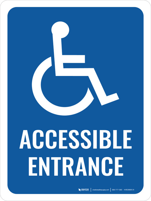 Accessible Entrance with Icon Portrait - Wall Sign