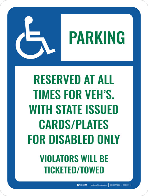 Accessible Parking For VEH's Portrait - Wall Sign