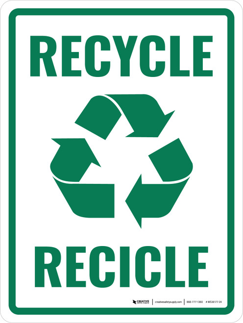 Bilingual Recycle with Icon Portrait - Wall Sign