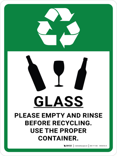 Glass Recycle - Please Empty and Rinse with Icons Portrait - Wall Sign