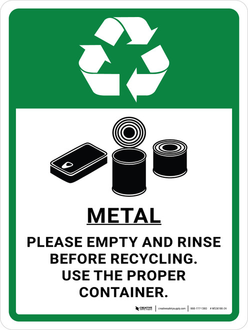 Metal Recycle - Please Emptry and Rinse with Icons Portrait - Wall Sign