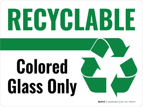 Recyclable Colored Glass Only Green with Icon Landscape - Wall Sign