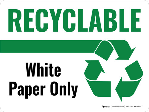 Recyclable White Paper Only Green with Icon Landscape - Wall Sign