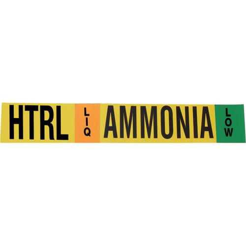 Ammonia Pipe Marking Label - High Temperature Recirculated Liquid
