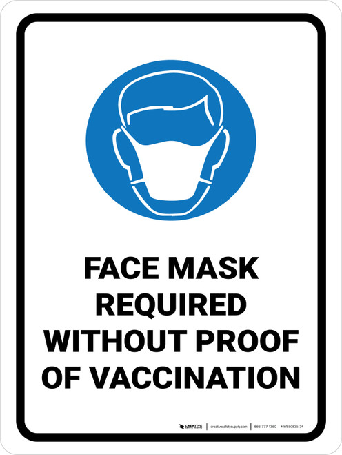 Face Mask Required Without Proof Of Vaccination with Icon Portrait - Wall Sign