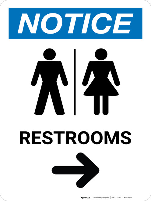 Notice: Restrooms Right With Icon - Wall Sign