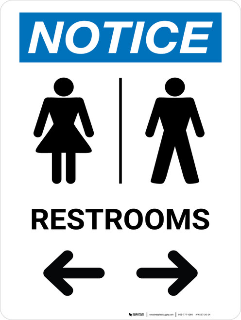 Notice With Arrows And Icon Female Left Male Right - Wall Sign