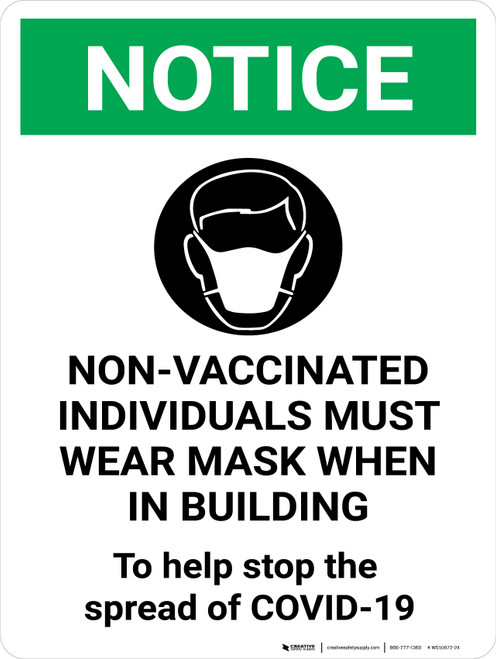 Notice Green - Non Vaccinated Individuals Must Wear Mask Sign Portrait - Wall Sign