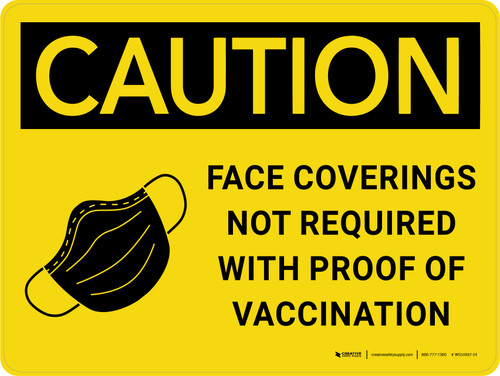 Caution: Coverings Not Required With Proof Of Vaccination with Icon Landscape - Wall Sign