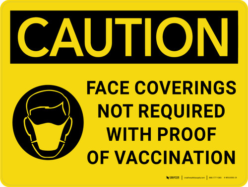 Caution: Face Coverings Not Required With Proof Of Vaccination with Icon Landscape - Wall Sign