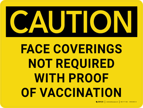 Caution: Face Coverings Not Required With Proof Of Vaccination Landscape - Wall Sign