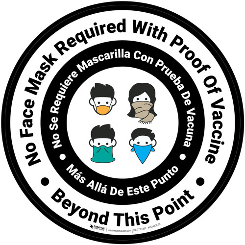 Bilingual No Face Mask Required Beyond This Point with Icon White Circular - Floor Sign