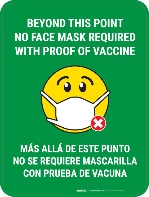 Beyond This Point No Face Mask Required With Emoji Green Bilingual - Floor Sign