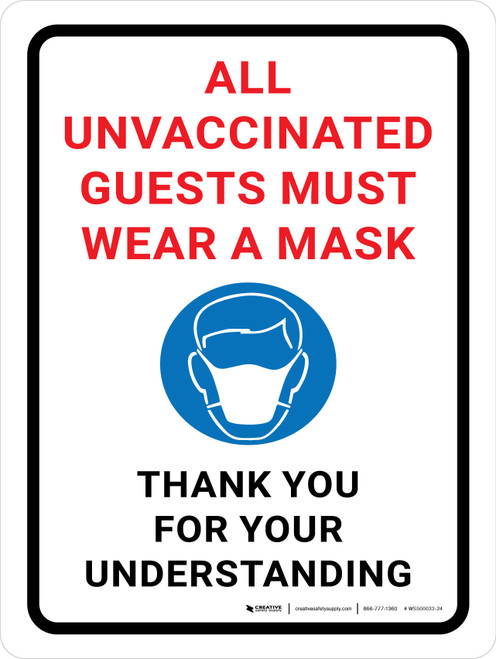 All Unvaccinated Guests Must Wear A Mask - Thank You with Icon Portrait - Wall Sign