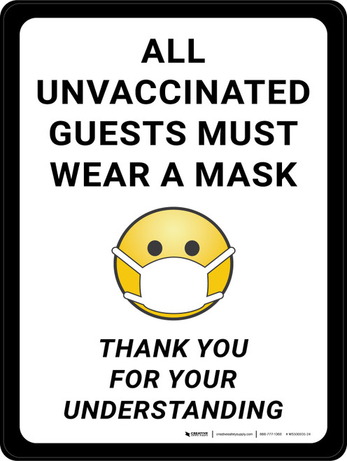All Unvaccinated Guests Must Wear A Mask - Thank You with Emoticon Portrait - Wall Sign