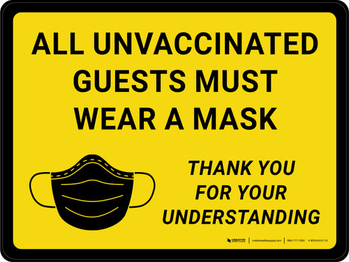 All Unvaccinated Guests Must Wear A Mask - Thank You With Icon Yellow Landscape - Wall Sign