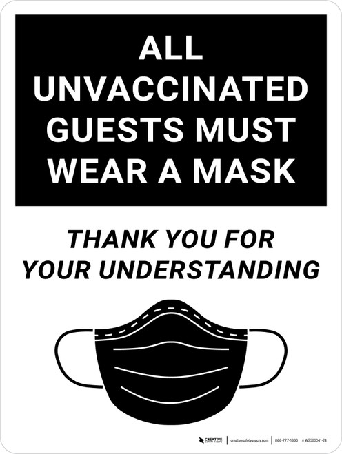 All Unvaccinated Guests Must Wear A Mask - Thank You For Understanding Black with Icon Portrait - Wall Sign