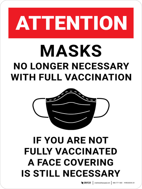 Attention: Masks No Longer Necessary With Full Vaccination - If You Are Not Fully Vaccinated A Face Covering Is Still Necessary - Wall Sign