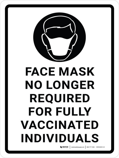Face Mask No Longer Required For Fully Vaccinated Individuals with Icon Portrait - Wall Sign