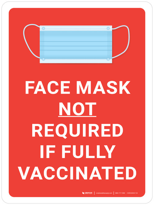 Face Mask Not Required If Fully Vaccinated With Icon Red Portrait - Wall Sign
