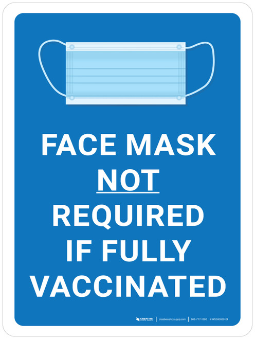 Face Masks Not Required If Fully Vaccinated With Icon Blue Portrait - Wall Sign