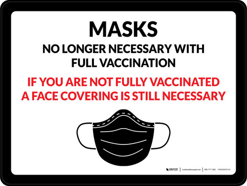 Masks No Longer Necessary With Full Vaccination - If You Are Not Fully Vaccinated A Face Covering Is Still Necessary Landscape - Wall Sign