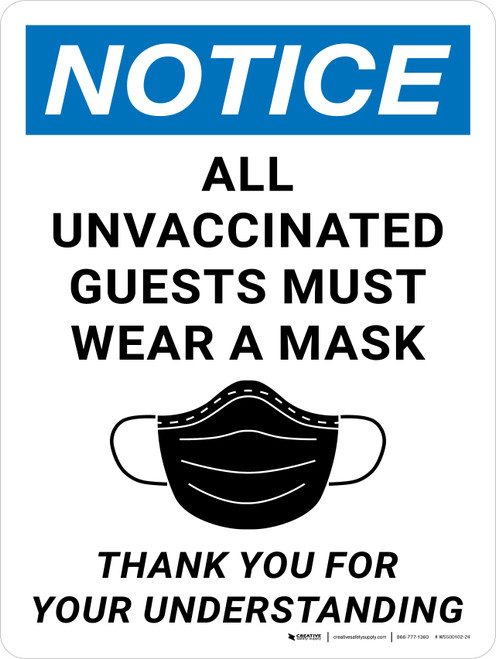 Notice: All Unvaccinated Guests Must Wear A Mask Portrait - Wall Sign