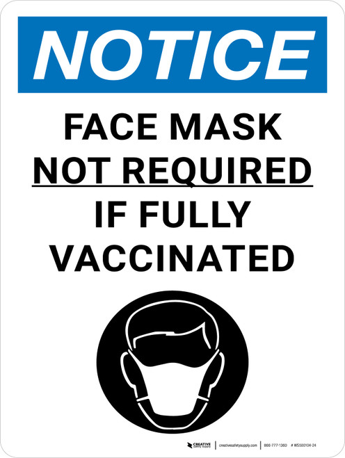 Notice: Face Mask Not Required If Fully Vaccinated with Icon Portrait - Wall Sign