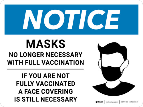 Notice: Masks No Longer Necessary With Full Vaccination - If Not Fully Vaccinated A Face Covering Is Still Necessary With Icon Landscape - Wall Sign