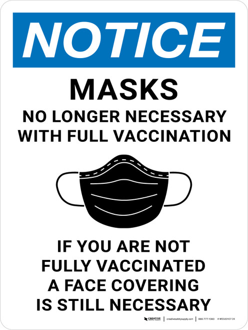 Notice: Masks No Longer Necessary With Full Vaccination If You Are Not Fully Vaccinated A Face Covering Is Still Necessary Portrait - Wall Sign