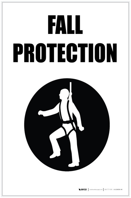 Fall Protection with Icon Portrait - Label