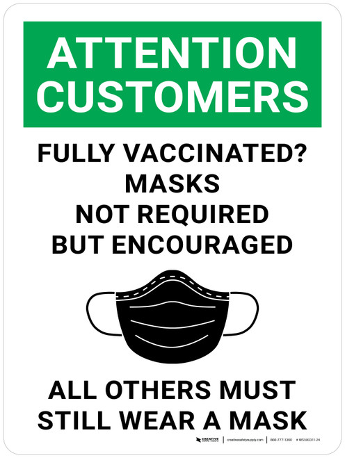 Attention: Customers Fully Vaccinated Masks Not Required But Encouraged All Others Must Still Wear A Mask With Icon - Wall Sign