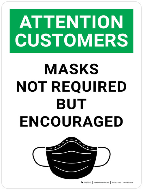 Attention: Customers Masks Not Required But Encouraged With Icon - Wall Sign