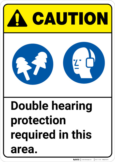 Caution: Double Hearing Protection Required In This Area ANSI - Wall Sign