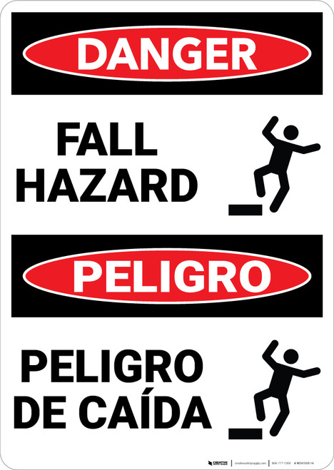 Danger: Fall Hazard With Graphic Bilingual Spanish - Wall Sign