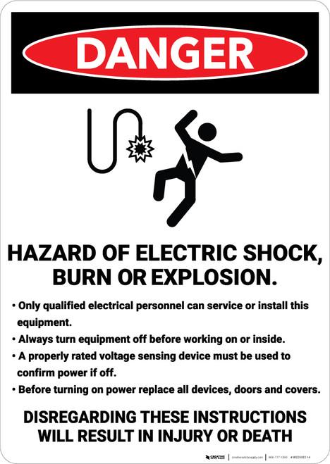Danger: Hazard Of Electric Shock Burn or Explosion - Wall Sign