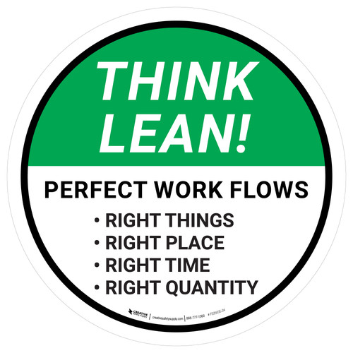 Think Lean: Perfect Work Flows Circular - Floor Sign