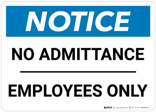 Notice: No Admittance Employees Only - Wall Sign