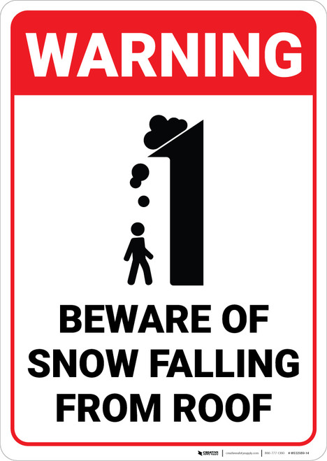 Warning: Beware of Snow Falling From Roof With Graphic - Wall Sign