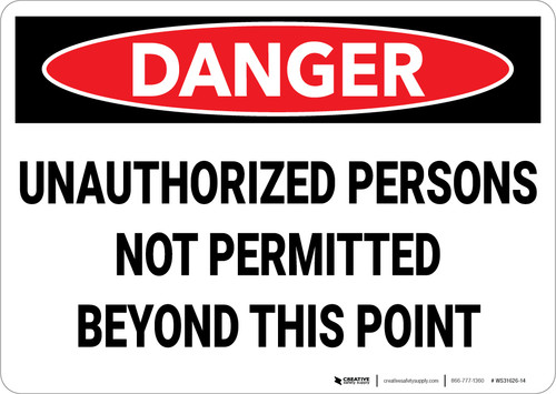 Danger: Unauthorized Not Permitted Beyond This Point - Wall Sign