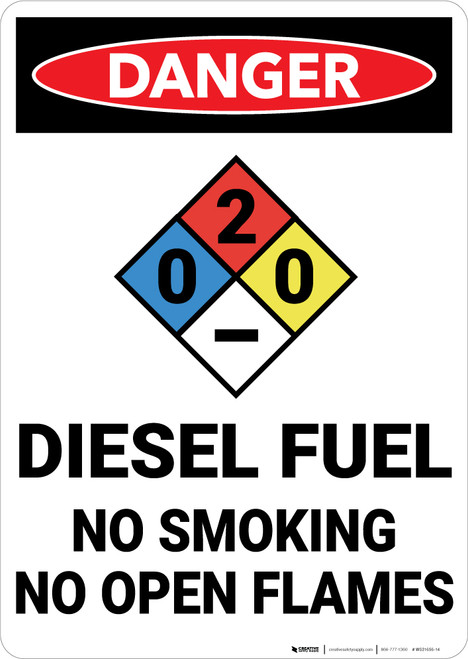 Danger: Diesel Fuel No Smoking With NFPA Symbol - Wall Sign