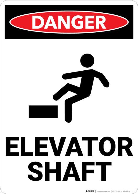Danger: Elevator Shaft Warning - Wall Sign
