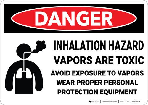 Danger: Inhalation Hazard Vapors are Toxic Avoid Exposure Wear PPE - Wall Sign