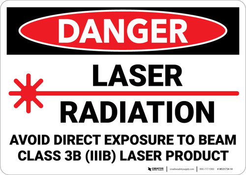 Danger: Laser Radiation Avoid Direct Exposure to Beam  - Wall Sign