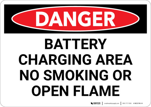Danger: Battery Charging No Smoking or Open Flame - Wall Sign