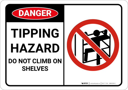 Danger: Tipping Hazard Do Not Climb With Graphic - Wall Sign