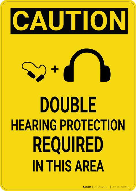 Caution: Double Hearing Protection Required in This Area - Wall Sign