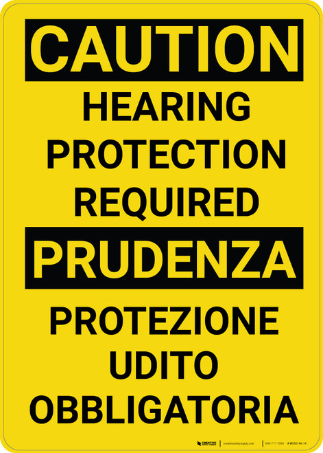 Caution: Hearing Protection Required Bilingual Spanish - Wall Sign